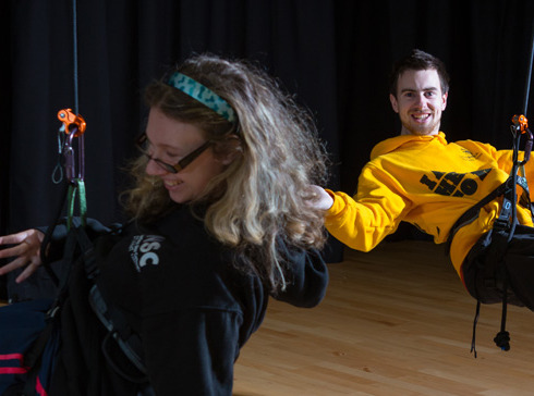 Two National Star students suspended but ropes from the ceiling in an aerial dance session